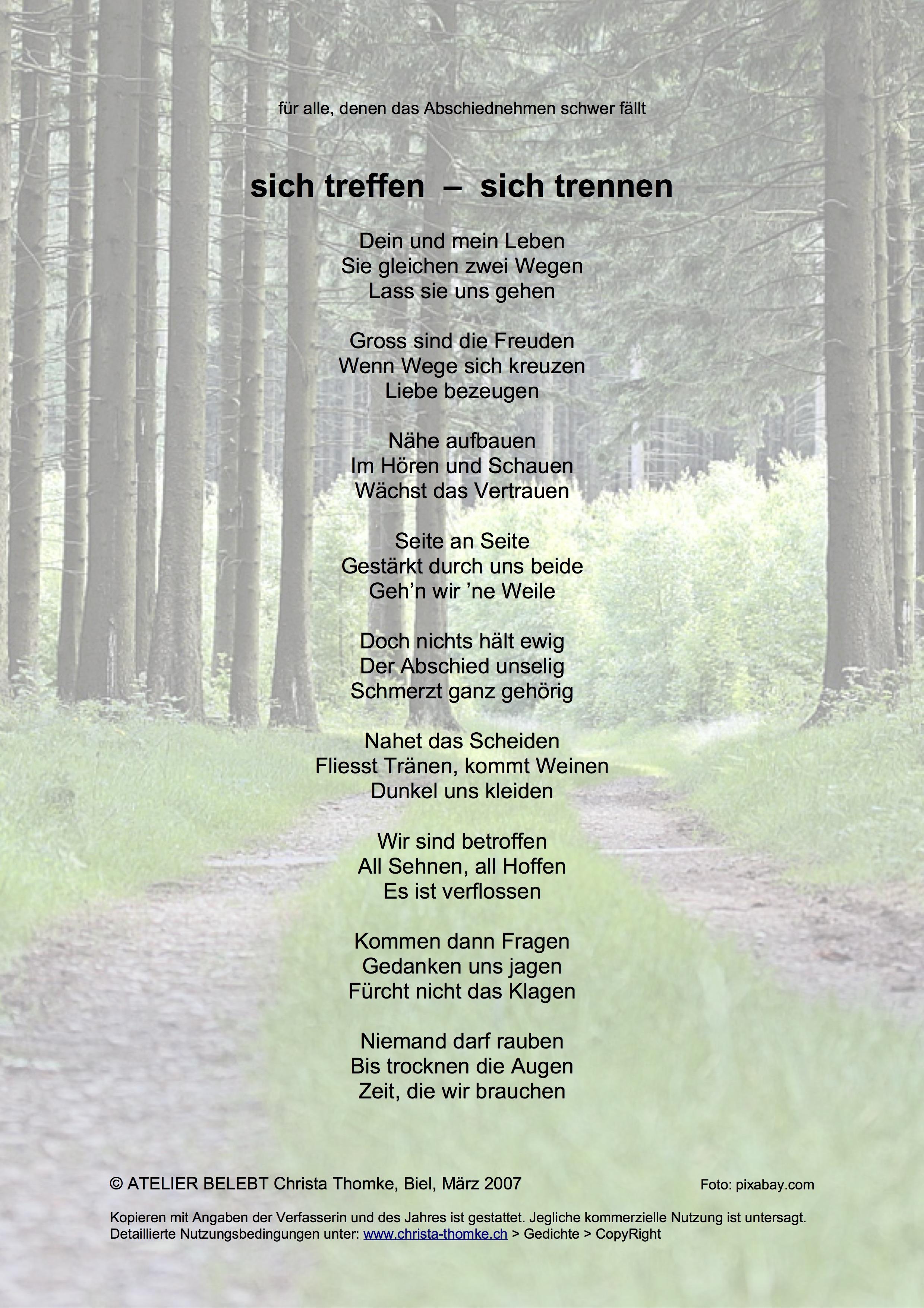 Gedichte Vertrauen Aufbauen